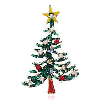 Damen Brosche Weihnachtsbaum Corsage hohlfarbige Legierung Brosche Pin