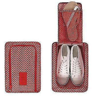 Portable Folding Travel Shoe Bag Large Capacity Shoe Organizer Bag(Red)