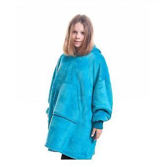 Takaró pulóver gyermekek viselhetnek kapucnis takaró zsebek (Blue2)