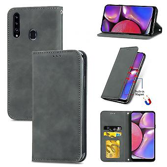Case For Samsung Galaxy A20s Magnetic Closure Leather Wallet Cover Housse Etui Shockproof - Grey