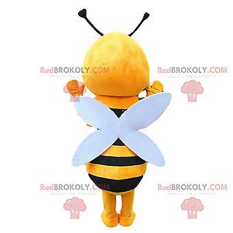 Maskottchen REDBROKOLY.COM gelber und schwarzer Biene, Verkleidung einer lächelnden Wespe