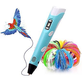 3D القلم مع 265 قدم 27 ألوان PLA خيوط عبوات، 3D الطباعة القلم متوافق جيش التحرير الشعبى الصينى وABS، ولعب الأطفال الإبداعية، الفنون الكمال الحرف هدية للأطفال والكبار،(الأزرق)