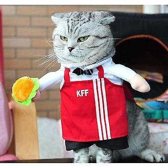 Funny Pet Costume Halloween Pirate Costume Cat And Dog Party Costume-(waiter)