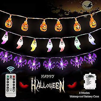 Halloween-koristeet Halloween Valot Sisä Ulko ulkona 3 pakkaus 90leds Akkukäyttöinen 8 tilaa Vedenpitävä Kurpitsa Lepakko Aave Keiju String Valot 30leds Ea