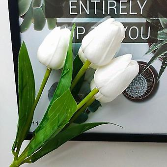 5 Heads luxury artificial tulips flowers white real touch bouquet silicone fake flower wedding home living room christmas decor