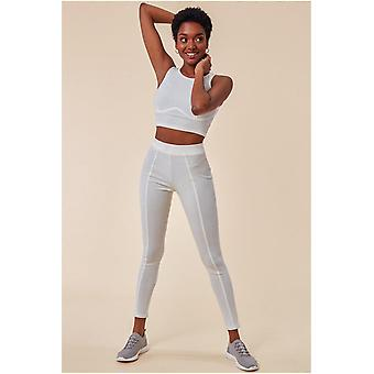 Cosmochic High Neck Crop Top With Leggings Set - White