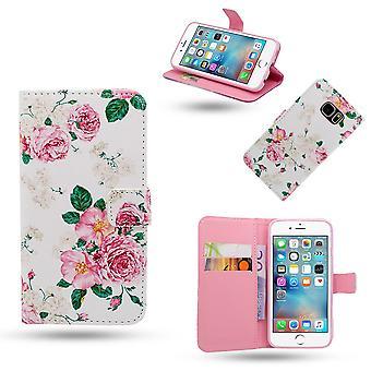 IPhone 6/6s taske/læder tegnebog-blomster