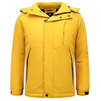 Sporty Windproof Winter Coat - Yellow