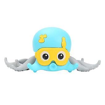 Aranyos állati polip fürdő játékok Baby Clockwork Bath Játék kötél húzta kúszó strand sétáló játék (kék)