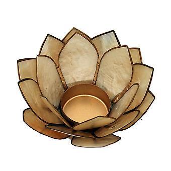 Smoke Brown Capiz Shell Lotus Flower Small Tealight Candle Holder