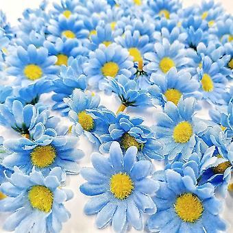 الشموع â € ® 100 × الاصطناعية الحرفية الزرقاء ديزي الإقحوانات النسيج الزهور رؤساء حفل زفاف الجدول مبعثرات