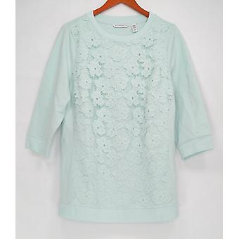 Isaac Mizrahi en direct! Pull Femme Plus 3/4 Sleeve Applique Bleu A274618