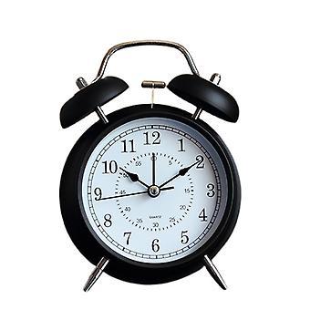 4 tuuman herätyskello, hiljainen herätyskello opiskelijoille, pieni söpö pöytäkello kotikäyttöön, yökello (musta)