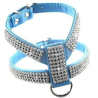 Dog Collar Harness Fashion Pet Pu Leather For Pet Adjustable Bling Rhinestone Collar