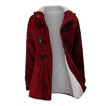 Womens Horn Button Fleece Thicken Coat With Hood Winter Coat