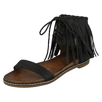 Ladies Savannah Fringe Ankle Lace Up Sandal F0977