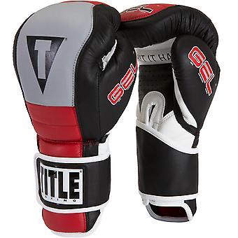 Titel boksen gel Rush aangepaste vorm fit Hook en loop Bag handschoenen-zwart/grijs/rood