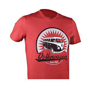 Official VW Camper Van T1 Mens Red T-Shirt - Samba