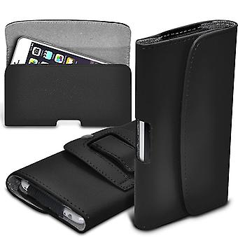 ONX3 (Black) Premium Horizontal Faux Leather Belt Holster Pouch Cover Case With Magnetic Closure For Samsung Galaxy A3 (2016) [ Large ]