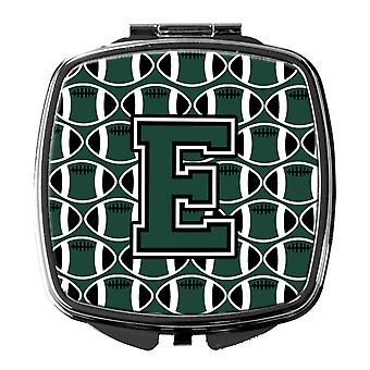 Letter E Football Green and White Compact Mirror
