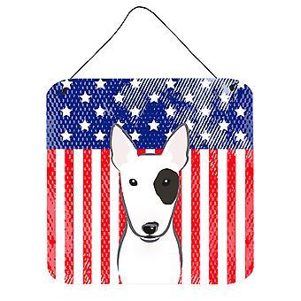 Amerykańską flagę i Bull Terrier ściany lub drzwi wiszące drukuje