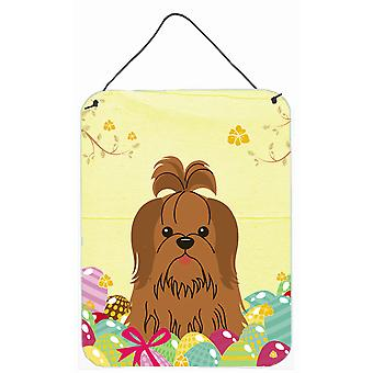 Easter Eggs Shih Tzu zilver chocolade muur of deur hangen Prints