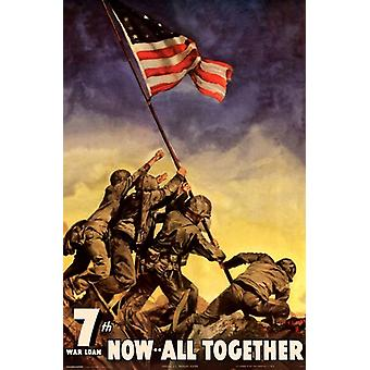 Iwo Jima Flag - Now All Together Poster Poster Print