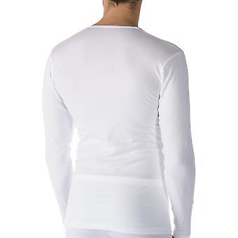 Algodão Casual cor sólida branca manga longa Top Mey 49004-101 masculino