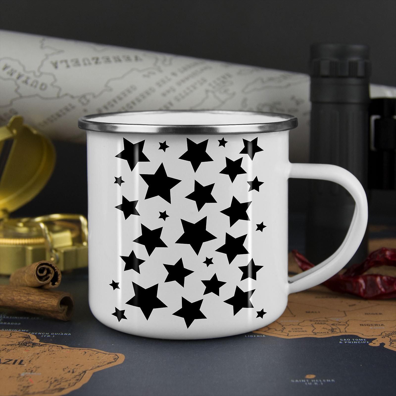 Sterne leuchten neue WhiteTea Kaffee Emaille Mug10 oz   Wellcoda