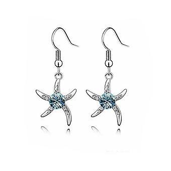 Dame sølv søstjerner øreringe i blå