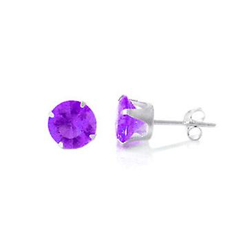 925 sterling silver Stud Earrings - round / purple
