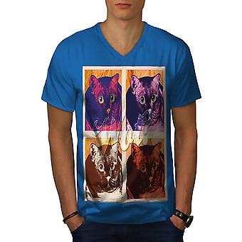 Scared Funy Cute Cat Men Royal BlueV-Neck T-shirt   Wellcoda