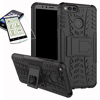 Hybrid tilfelle 2 stykke svart i Huawei ære 7 X + herdet glass bag coveret nye
