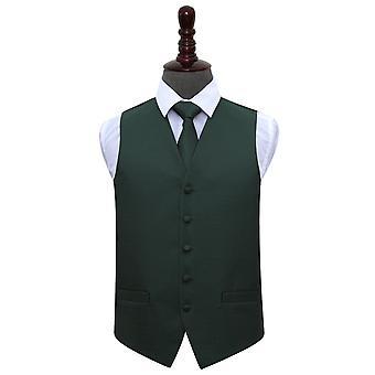 Chaleco de clave griega verde oscuro de la boda y conjunto de Tie