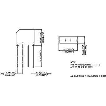 Puente de diodos de Infineon Technologies 2KBB40 SIP 4 400 V 1.9 A 1 fase