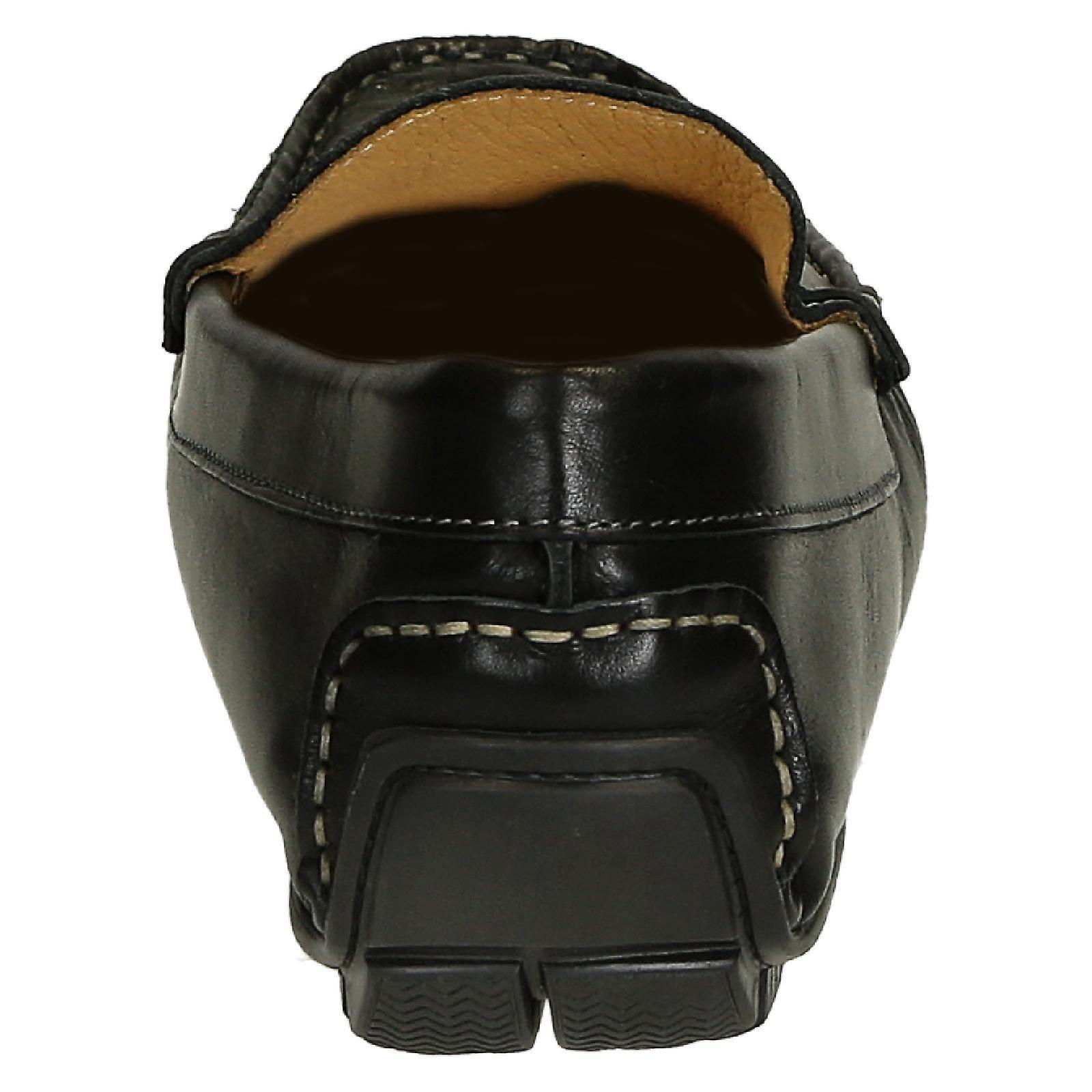 Black calf leather men's italian driving moccasins