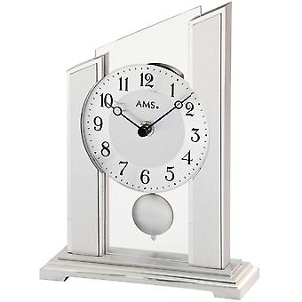 AMS table clock pendulum quartz clock with pendulum silver wood housing mineral glass