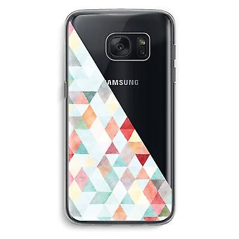 Samsung Galaxy S7 Transparent Case (Soft) - Coloured triangles pastel