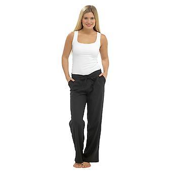 Womens Solid Colour Ribbed Waist Linen Trouser Bottoms Pants Black 18