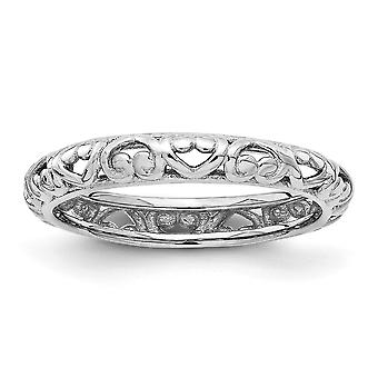 3.5mm 925 Sterling Silver Stackable Expressions Rhodium Carved Ring Jewelry Gifts for Women - Ring Size: 5 to 10