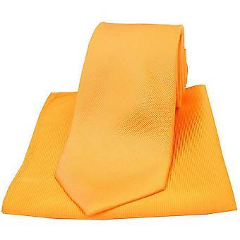 David Van Hagen Diagonal Ribbed Plain Tie and Pocket Square Set - Orange