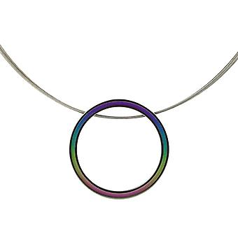 Ti2 Titanium Retro Large Pendant and Wire Cable Necklace - Multi-colour