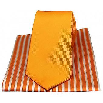 David Van Hagen striées cravate et mouchoir Set - Orange à rayures