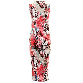 Damen Celeb aztekische Floral Leopard Splash Sommer Damen Midi Bodycon Kleid