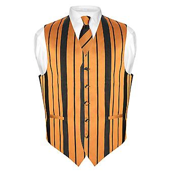 Men's Dress Vest & NeckTie & Woven Striped Design Neck Tie Set