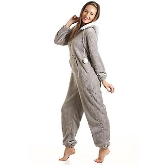 Camille Womens Mesdames luxe SuperSoft molleton capuche gris All In One Onesie Pyjama taille 10-20