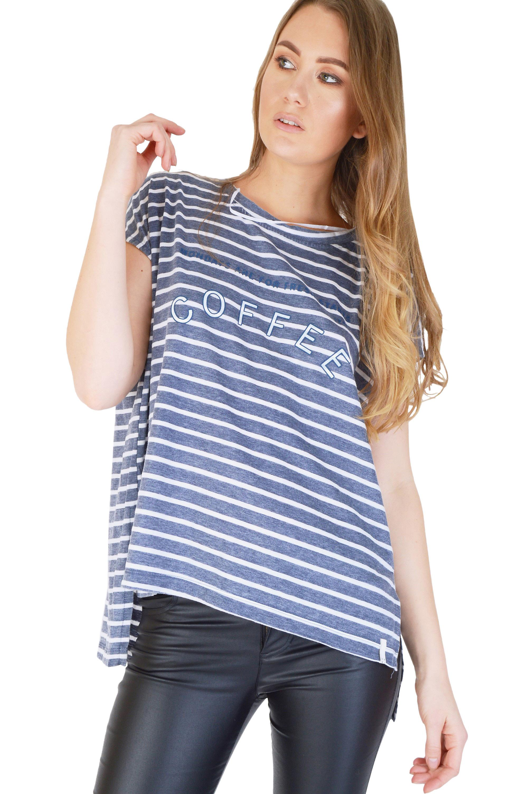 SHN Oversized Blue And White Stripe T-Shirt With 'Coffee' Slogan