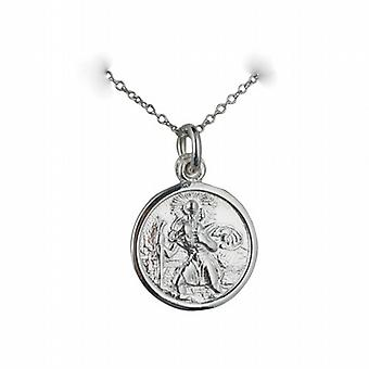 Silver 16mm round St Christopher Pendant with a rolo Chain 24 inches