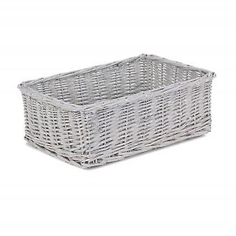 Small Grey Wash Wicker Tray