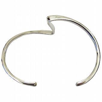 Einlagige scharfen Kurven wellenförmige Design Sterling Silber Manschette Armband